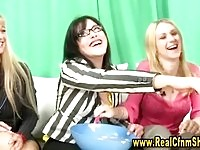 Kinky cfnm bombshells shaves their femdom guys pubes